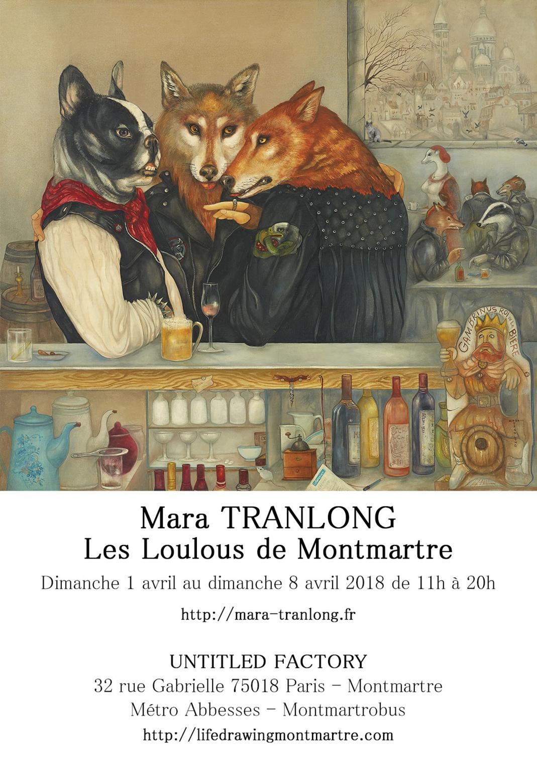 Mara Tranlong - Collection 2005-2010 - Les loulous de Montmartre - Titre : Le képi blanc - Peinture acrylique sur bois - 90cm x 100 cm