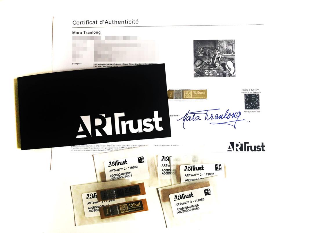 Certificat d'authenticité ARTtrust utilisé mar Mara Tranlong