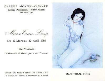 Mara Tranlong - Carton du vernissage à la Galerie Moyon -  Avenard  à Nantes en 1986