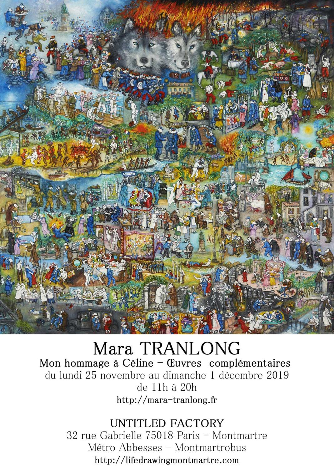 Exposition de Mara Tranlong à Montmartre en hommage à Louis-Ferdinand Céline à partir du 25 novembre 2019