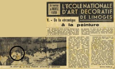 Marinette Vedry à l'École d'Art décoratif de Limoges