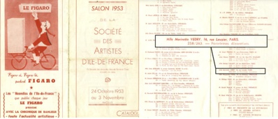 Exposition des oeuvres de Marinette Vedry Paris -1953