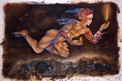 "Mara Tranlong ""Le veilleur de nuit"" Tempera sur carton 100 x 60 cm"