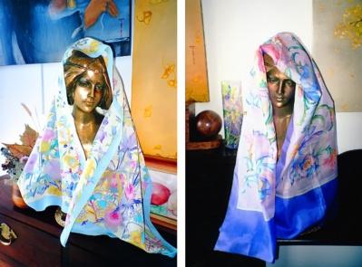 Mara Tranlong - Foulards peints - Gutta et étuvage