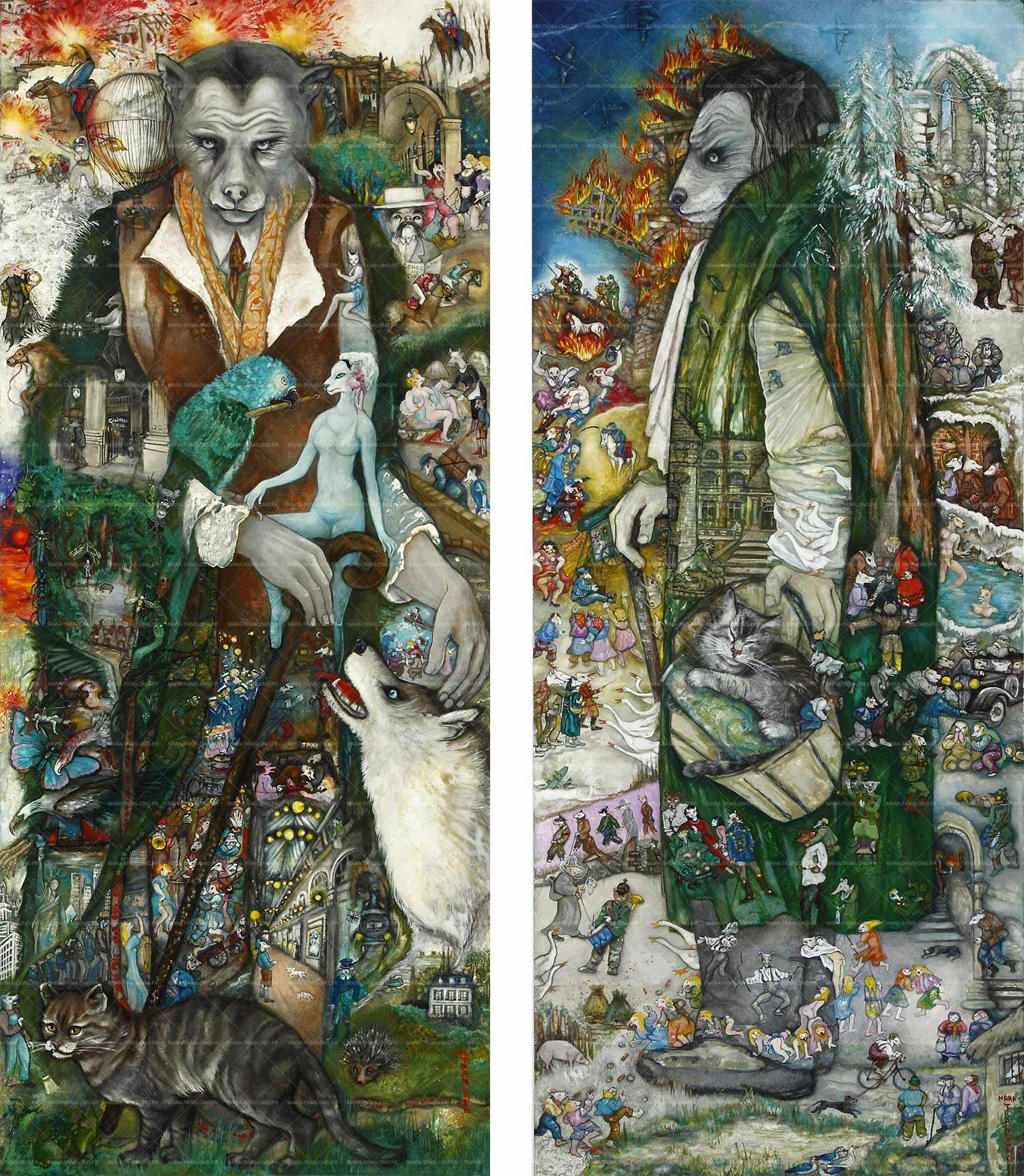 """Mara Tranlong """"Le long voyage"""" et """"Le guêpier prusco"""". Dimensions de chaque œuvre  : 50 cm x 120 cm ; Acrylique-Tempera sur bois et vernis (détails en cliquant sur les œuvres et en actionnant la molette de la souris ou cliquer sur les contôles au bas de la fenêtre)."""