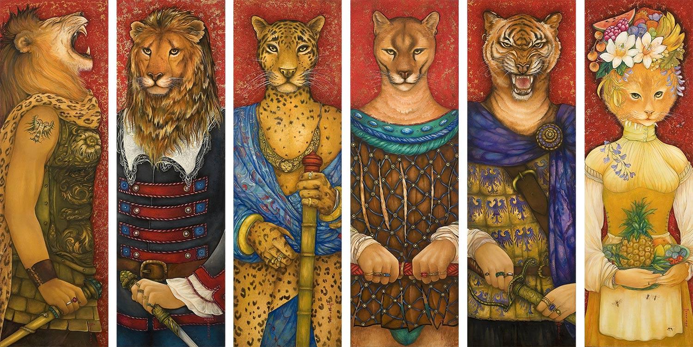 """Mara Tranlong """"Agapes- Les gardes"""" 6 personnages seuls sur les 19. Dimensions : 30 cm x 95 cm Acrylique-Tempera sur bois vernis."""