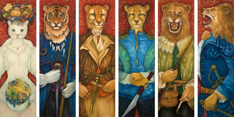 """Mara Tranlong """"Agapes - Les gardes"""" 6 personnages seuls sur les 19. Dimensions : 30 cm x 95 cm Acrylique-Tempera sur bois vernis."""