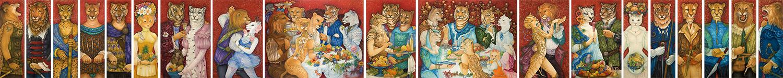 "L'ensemble des 19 œuvres de la série ""Les Agapes"" de Mara Tranlong"