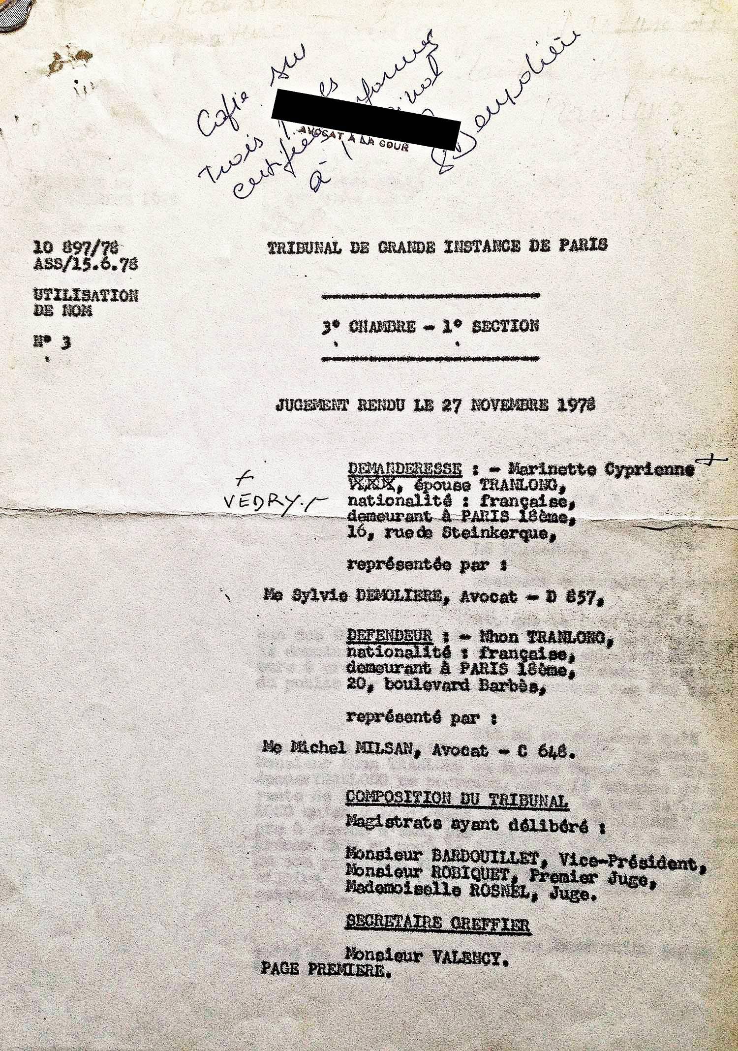 """Décision de justice concernant l'emploi de la signature """"TRANLONG"""" sur les oeuvres de l'artiste"""