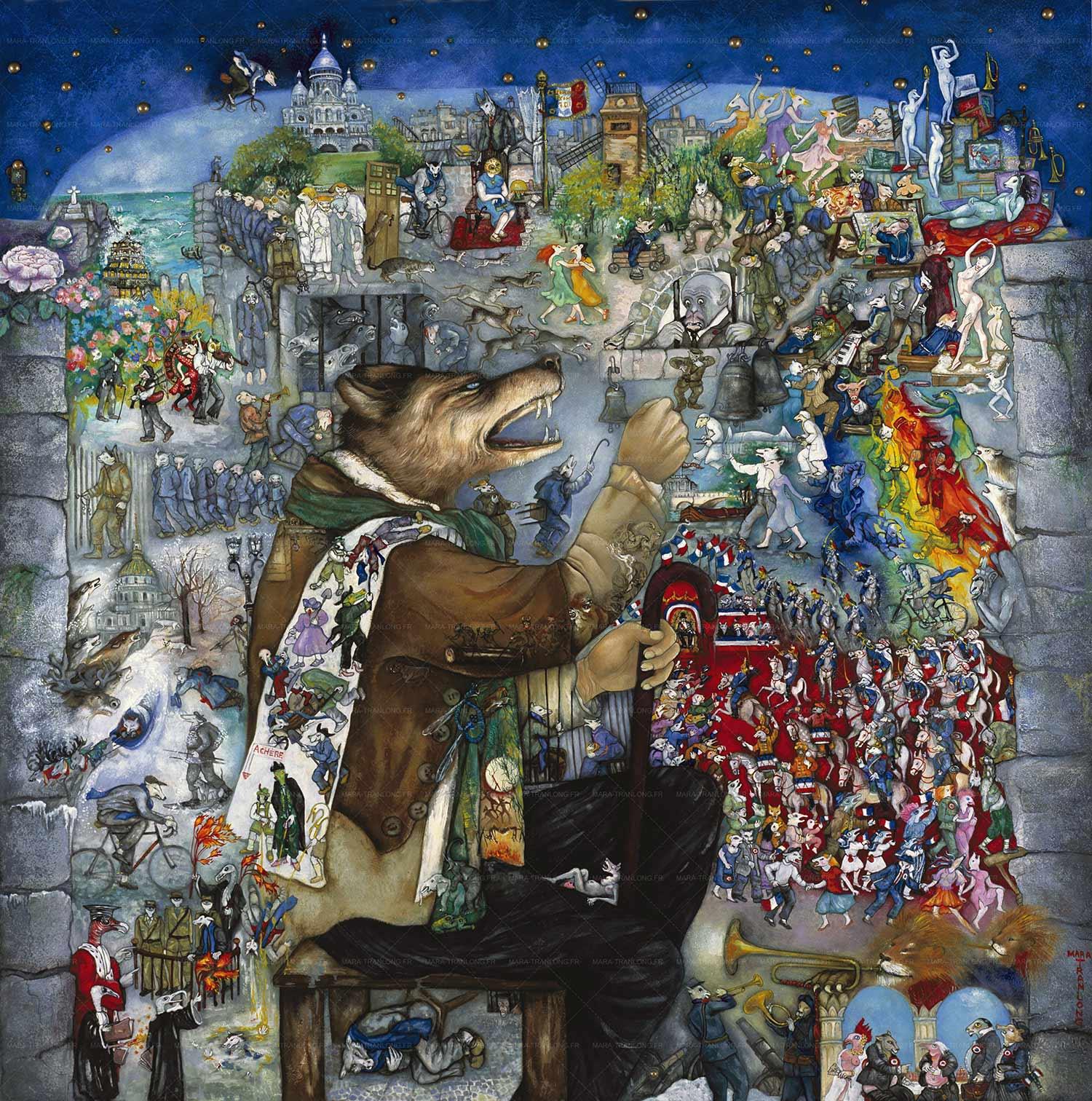 """Mara Tranlong - Collection """"Mon homage à Céline"""" - Titre : Tumulte à Copenhague - Acrylique sur bois 110 cm x 110 cm"""