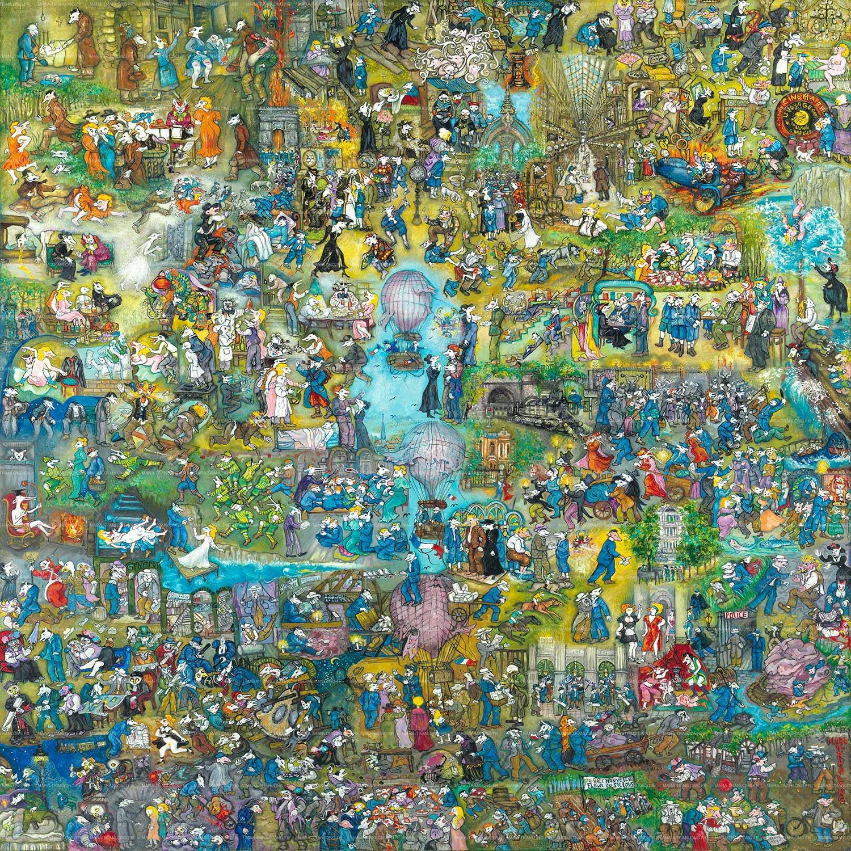 """Mara Tranlong - Collection """"Mon homage à Céline"""" - Titre : Les Emmerdes - Acrylique sur bois 110 cm x 110 cm"""