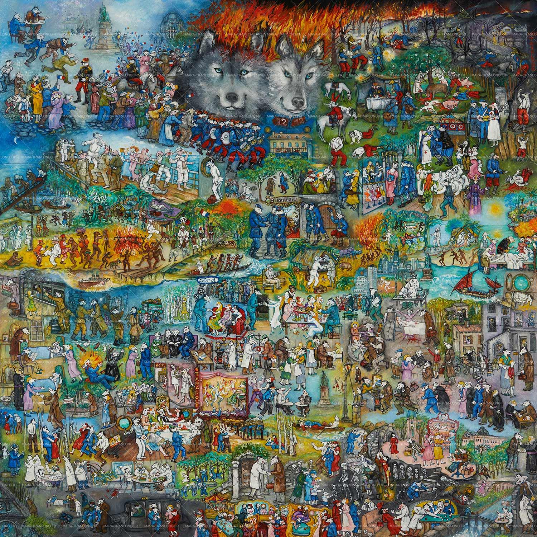 """Mara Tranlong - Collection """"Mon homage à Céline"""" - Titre : Marche ou crève - Acrylique sur bois 110 cm x 110 cm"""