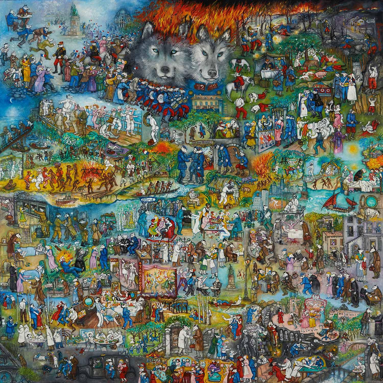 """Mara Tranlong - Collection """"Mon Hommage à Céline"""" - Titre : Marche ou crève - Acrylique sur bois 110 cm x 110 cm"""