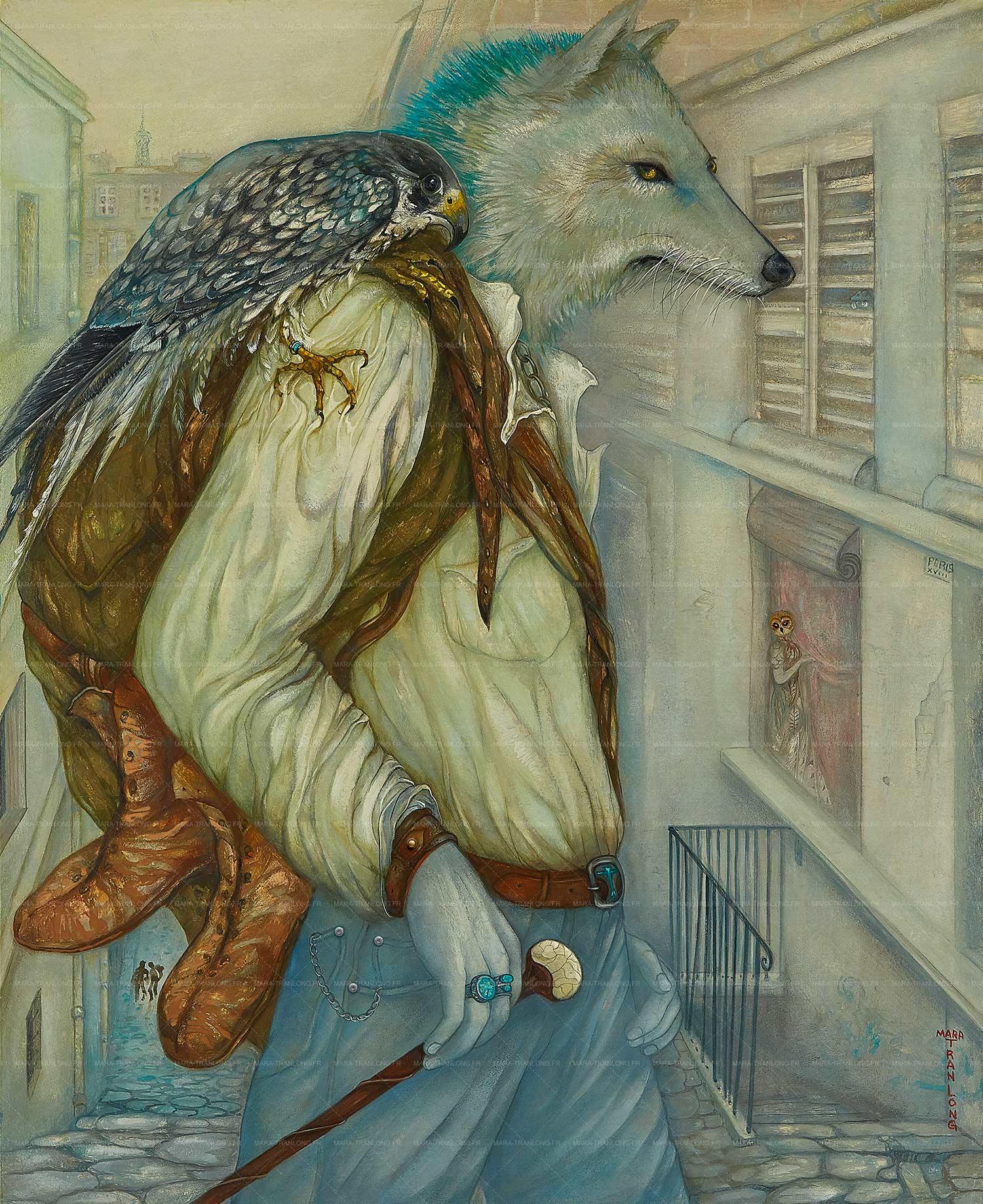 Mara Tranlong - Collection 2005-2008 - Les loulous de Montmartre - Titre : Les Pèlerins - Peinture acrylique sur bois - 60 cm x 73 cm