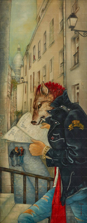 Mara Tranlong - Collection 2005-2008 - Les loulous de Montmartre - Titre : La Gazette de la Butte - Peinture acrylique sur bois - 45 cm x 110 cm