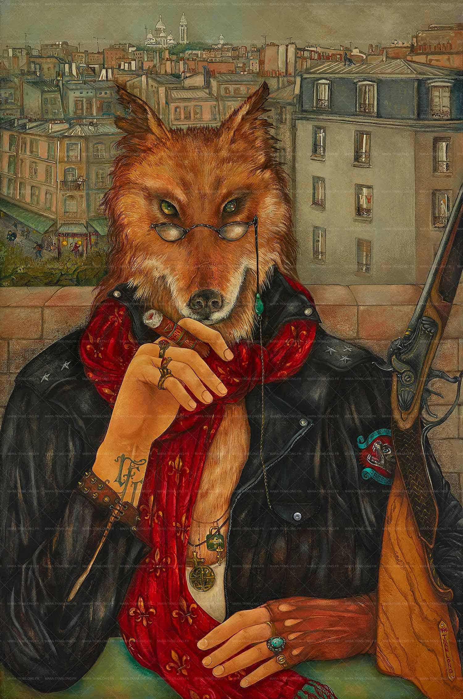 Mara Tranlong - Collection 2005-2008 - Les loulous de Montmartre - Titre : Marginalement Vôtre - Peinture acrylique sur bois - 60 cm x 89,5 cm