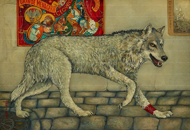 Mara Tranlong - Collection 2005-2008 - Les loulous de Montmartre - Titre : La Séance de 20 heures - Peinture acrylique sur bois - 80 cm x 55 cm