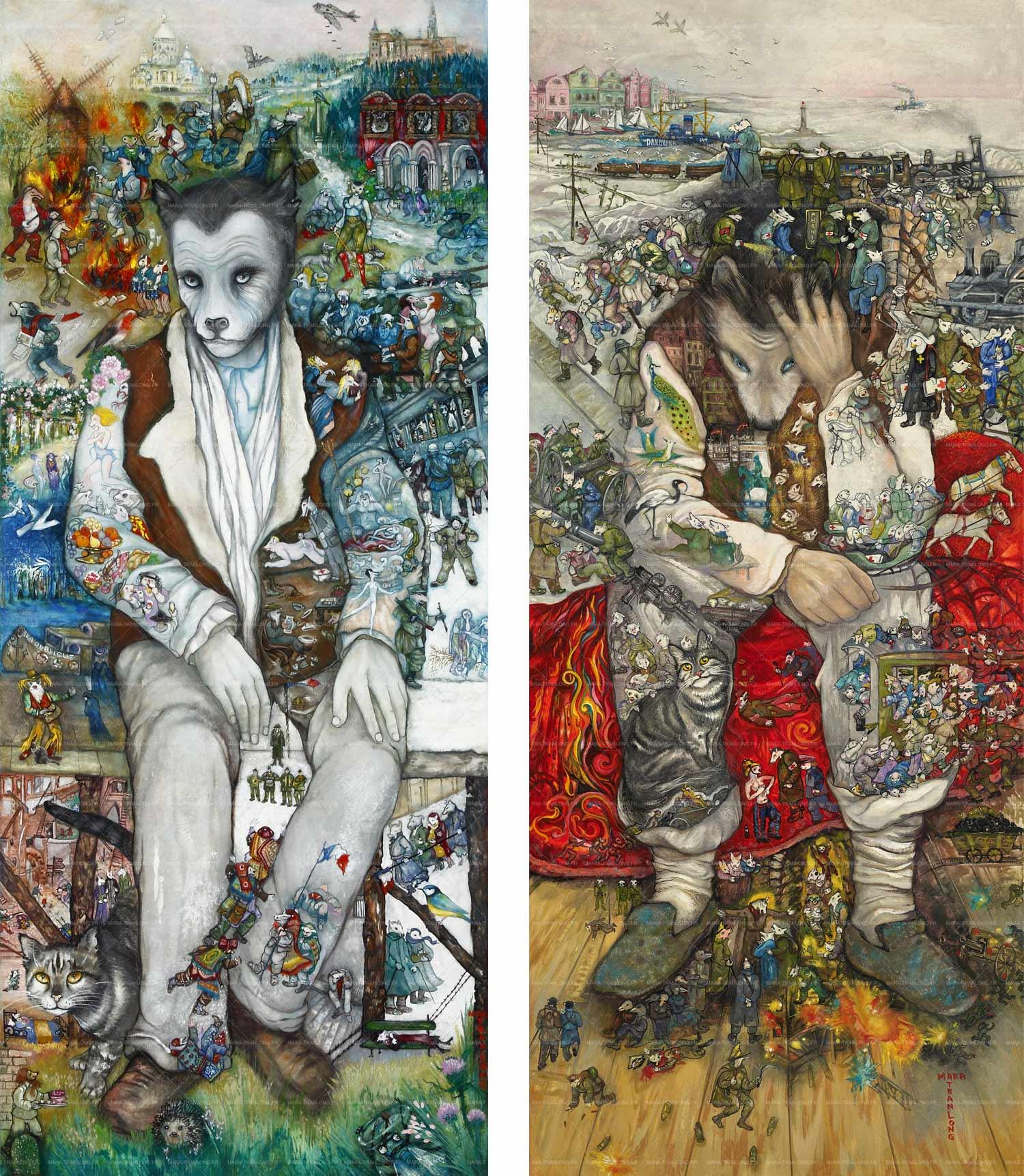 """Mara Tranlong - Collection """"Mon homage à Céline"""" - Titre : Les petits cercueils et Adieu La Vigue - Acrylique sur bois 50 cm x 120 cm - Année 2012 - 2013"""