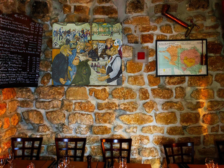 """Près du menu, """"Le Sirop de la Rue"""" œuvre N°3 de la collection"""