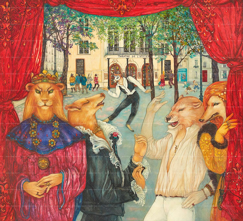 Mara Tranlong - Collection 2005-2010 - Les loulous de Montmartre - Titre : Le rideau rouge - Peinture tempéra-acrylique sur bois - 90 cm x 100 cm