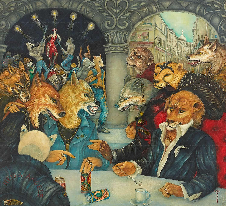 Mara Tranlong - Collection 2005-2010 - Les loulous de Montmartre - Titre : De l'eau dans le gaz - Peinture tempéra-acrylique sur bois - 90 cm x 100 cm