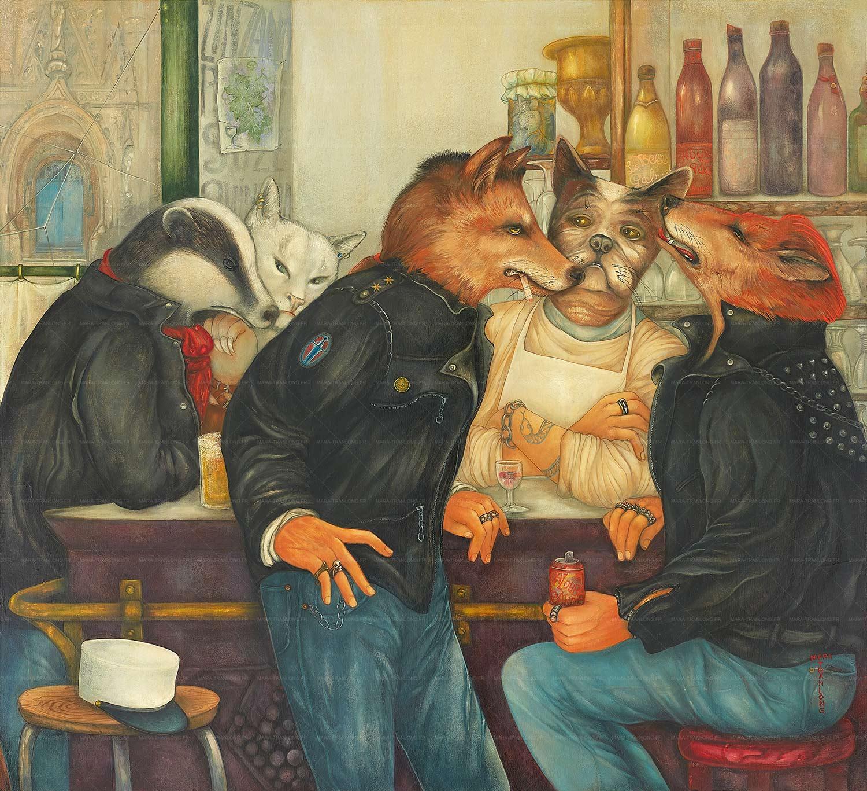 Mara Tranlong - Collection 2005-2010 - Les loulous de Montmartre - Titre : Le képi blanc - Peinture tempéra-acrylique sur bois - 90 cm x 100 cm