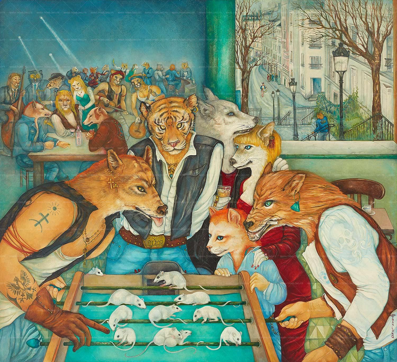 Mara Tranlong - Collection 2005-2010 - Les loulous de Montmartre - Titre : Les ingérables - Peinture tempéra-acrylique sur bois - 90 cm x 100 cm