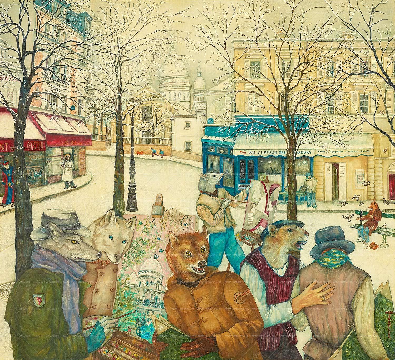 Mara Tranlong - Collection 2005-2010 - Les loulous de Montmartre - Titre : Temps de rapin - Peinture tempéra-acrylique sur bois - 90 cm x 100 cm