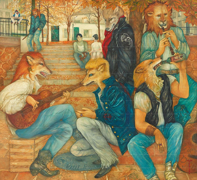 Mara Tranlong - Collection 2005-2010 - Les loulous de Montmartre - Titre : Toujours le même refrain - Peinture tempéra-acrylique sur bois - 90 cm x 100 cm