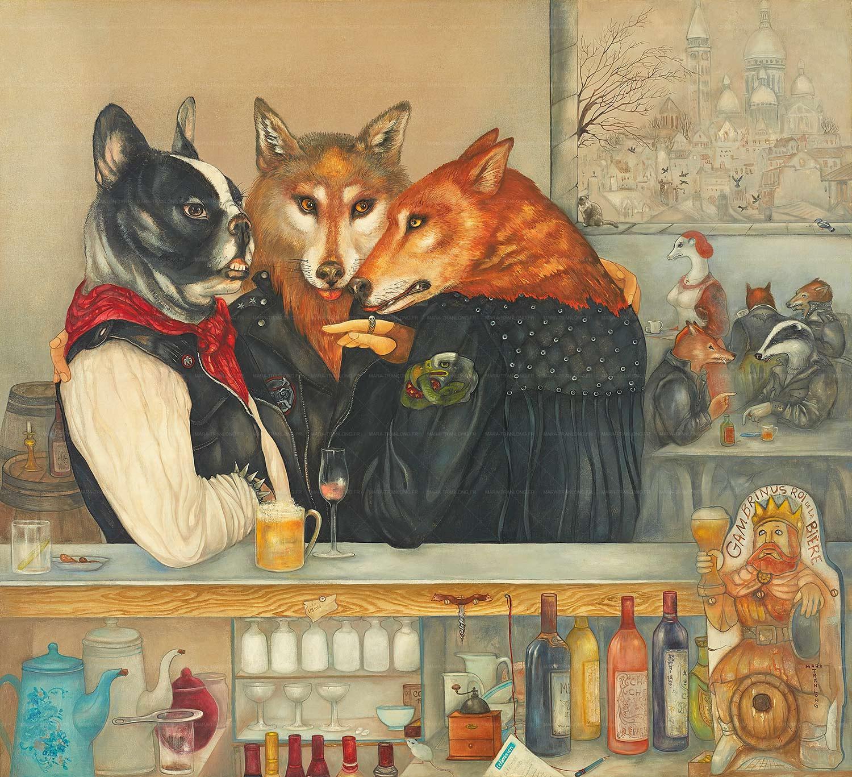 Mara Tranlong - Collection 2005-2010  - Les Loulous de Montmartre - Titre : Les loubards - Peinture tempéra-acrylique sur bois - 90 cm x 100 cm