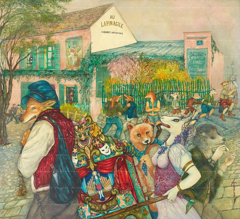Mara Tranlong - Collection 2005-2010  - Les Loulous de Montmartre - Titre : Marie Tournelle - Peinture tempéra-acrylique sur bois - 90 cm x 100 cm