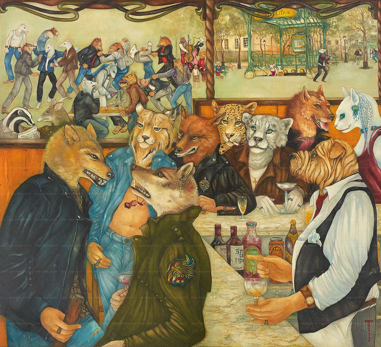 Mara Tranlong - Collection 2005-2010  - Les Loulous de Montmartre - Titre : Le sirop de la rue - Peinture tempéra-acrylique sur bois - 90 cm x 100 cm