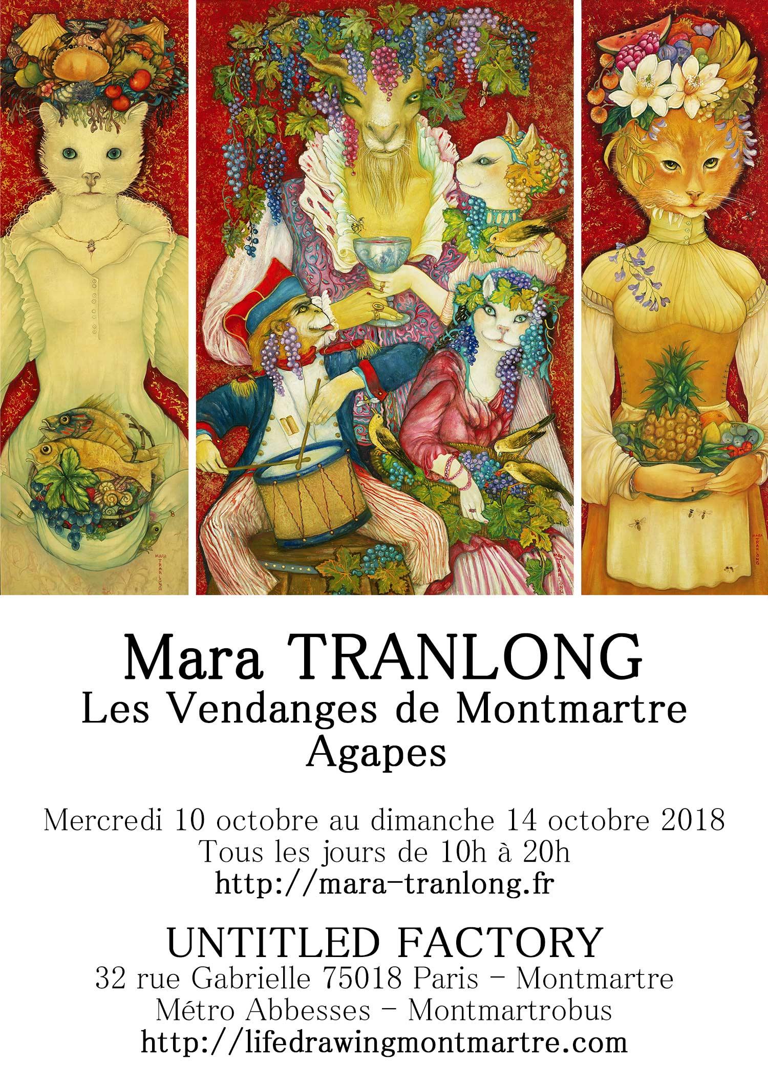 """Mara Tranlong - Collection : """"Les Vendanges de Montmartre - Agapes"""" - Titre : Roulez tambour - Tempera, acrylique sur bois - Dimensions : 95 cm x 60 cm"""