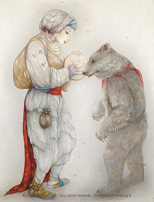 Mara Tranlong - La danse de l'ours - Peinture acrylique sur bois - 85 x 65 cm - 2002