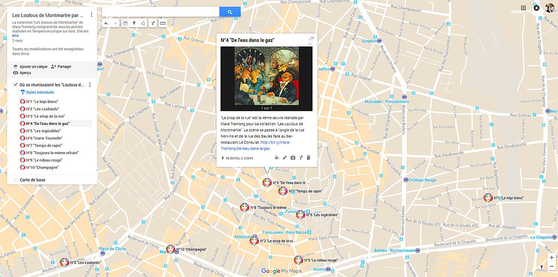 """Carte Google Maps des """"Loulous de Montmartre"""" de Mara Tranlong"""