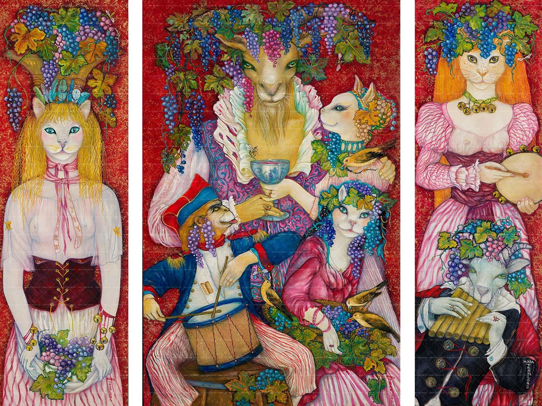"""Mara Tranlong """"Les Vendanages de Montmartre"""" - Tempéra Acrylique sur bois vernis - 2018"""