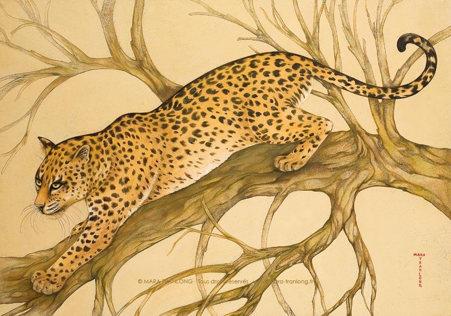 """Mara Tranlong """"L'Arbre Sauvage"""" Acrylique Tempera sur bois 100 x 70 cm"""