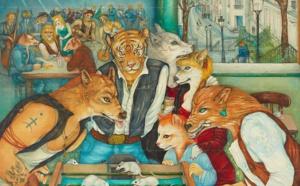 Mara Tranlong - Collection 2005-2010 - Les loulous de Montmartre - Titre : Les ingérables - Peinture acrylique sur bois - 90cm x 100 cm