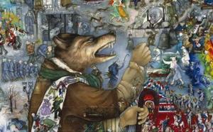 """Mara Tranlong """"Tumulte à Copenhague"""" (Féérie pour une autre fois - Normance) Acrylique-Tempera sur bois, clouté et vernis - Dimensions 110x110cm (détails en cliquant sur l'œuvre et en actionnant la molette de la souris ou cliquer sur les contrôles au bas de la fenêtre)."""